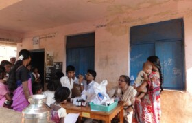 Dr Satish & sister Susmita doing complete check-up of boys - students from the school.