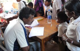 Volunteer Kanchan had lot of patience with kids while taking their case history.