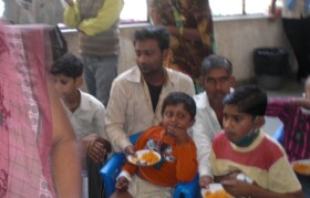Children enjoying goodies and special snacks.
