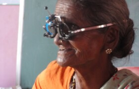 Patient with cataract beinc checked
