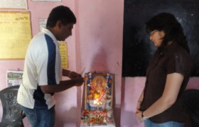 Camp started with Puja being performed by volunteers in the school