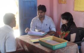 Volunteers Umakant and Rashmi on the registration desk