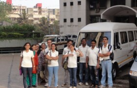 Team started from Mumbai at 7am in a mini bus and 2 cars.