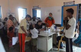 After the registration, the villagers were given precautionary medicines for worms and tetanus injections.