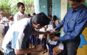 Kids at Palav Pada-Anantpur were given dosage of medicine for as deworming - something which is carried out by Suhrid Foundation in all schools quarterly.