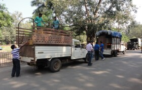Three such trucks were loaded with furniture from TCS with cupboards, tables, chairs for schools