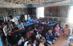 Villagers gathered in school for quick meeting