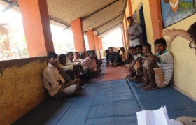 Villagers from Kaspada gathered for meeting