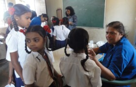 Doctors checking Bahirampada kids