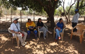 People from village in Dharampur sharing their experiences with Team Suhrid