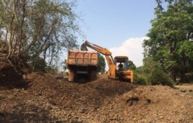 Earth movers like JCB are brought-in in last 3 days to finish desilting i.e. removal of huge piles of sand/soil in riverbed