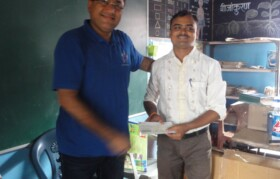 First cheque handed over to school teacher for nutrition and all other project supported by Suhrid Foundation