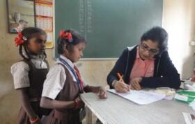 Doctor checking up kids at Bahirampada