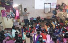 Make-shift arrangement of projecting presentation in Dadade Ashram Shala