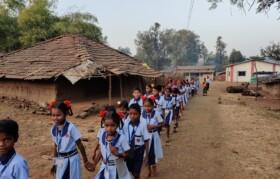 Being 26th Jan, school kids walked around in village for Prabhat Pheri
